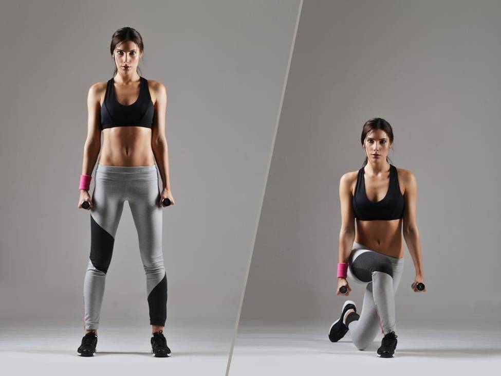 front woman one legged lunges