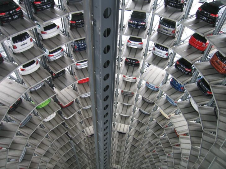 Car Insurance shopping online parking garage of cars