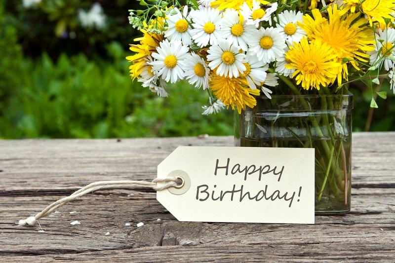 Birthday Flowers yellow bucket