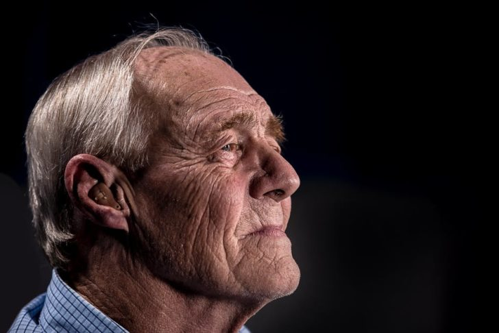 Hearing Devices old man staring off into space