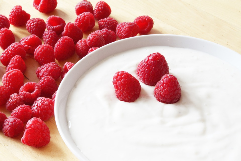 Foods raspberries and yogurt