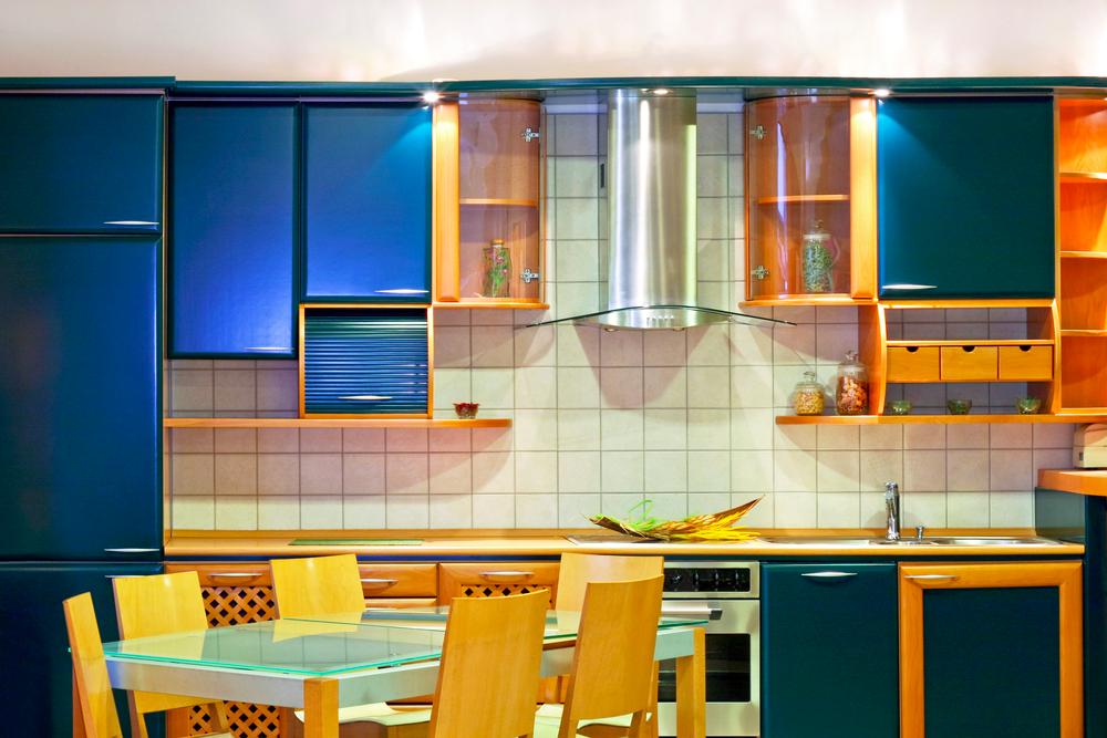 3 blue kitchen