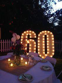 60th Birthday Party Ideas lit up