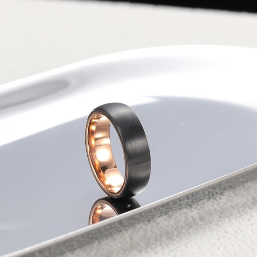 Dual-toned brushed tungsten flat wedding band