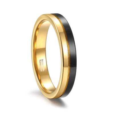Two-toned tungsten wedding band