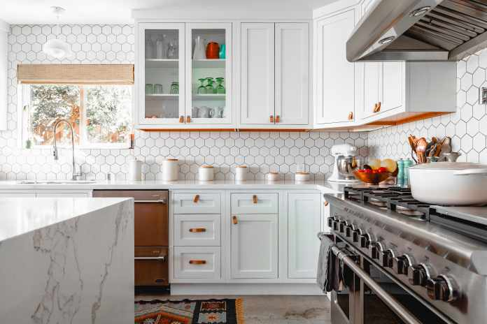 with a small kitchen space