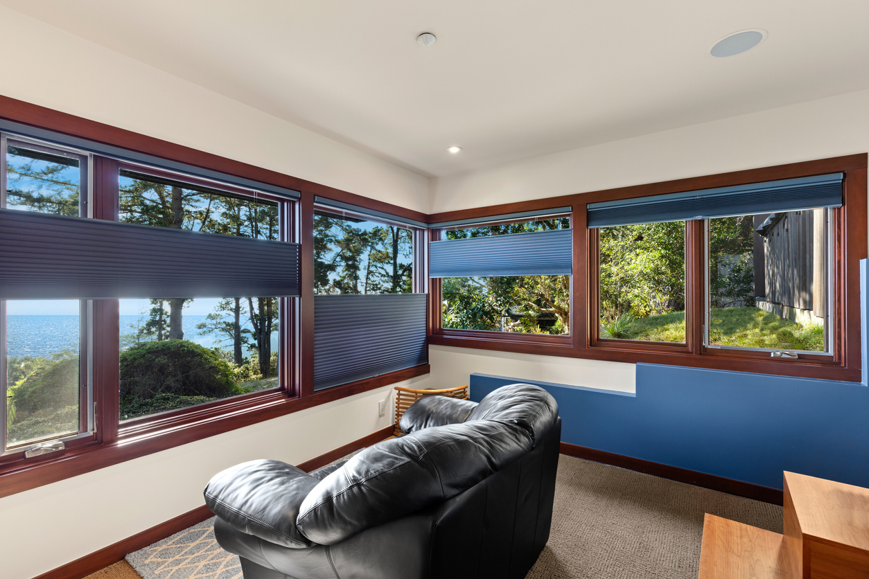 Blinds and Window treatments - Window coverings in home with view of the ocean